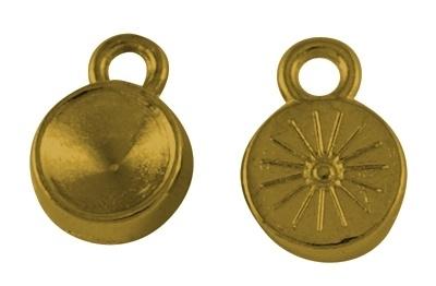 B. Houder Puntsteen Settings DQ één oog Oud Goud ca.13 x 10 mm (voor puntsteen SS39 c.a. 7-8mm)