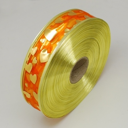 1 meter oranje organza lint met goud glitter rood 38mm hart met metaaldraad