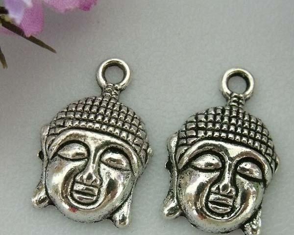 10x Tibetaans zilveren bedel Buddha 22x15mm