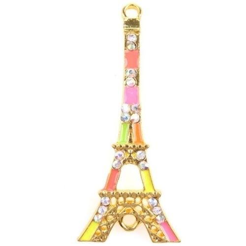 Prachtige emaille tussenzetsel met strass Eiffeltoren 42 x 18mm gat: 2mm