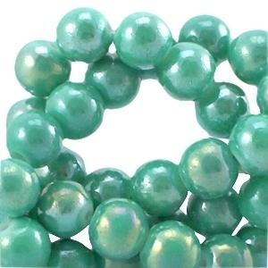 20 stuks Diamond coated glaskralen 6mm  Light emerald green