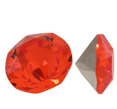 15 strass punt steentjes clear Fire Orange SS16 4mm Back Plated, Diamond, Crystal