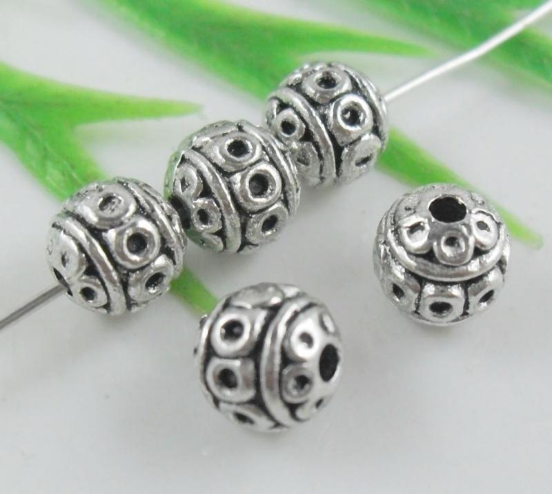 10 stuks Tibetaans zilveren tussenzetsel kraal 8 x 7mm Gat: 2mm