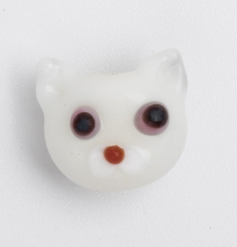 5 x witte glaskraal poes 11 x 12 x 9 mm; Gat 3 mm Handgemaakt