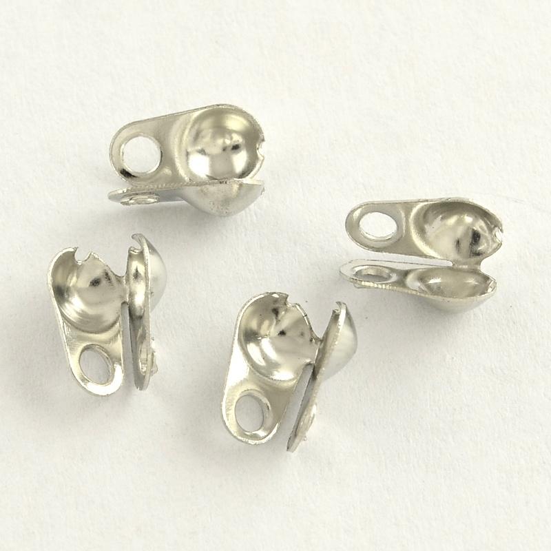 10 stuks gesloten mini kalotjes 4 x 2mm oogje 1mm zijwaarts platinum(Binnenmaat c.a. 1,5mm)