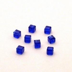 6x Preciosa Handgeslepen kristal kraal 4mm donker blauw