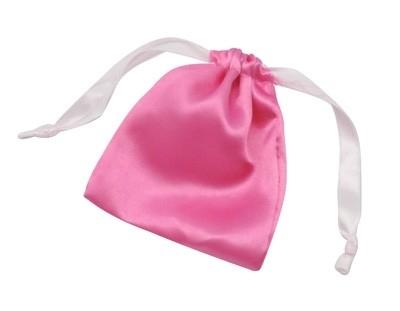Schitterend cadeauzakje van echte zijde 87 x 104mm roze