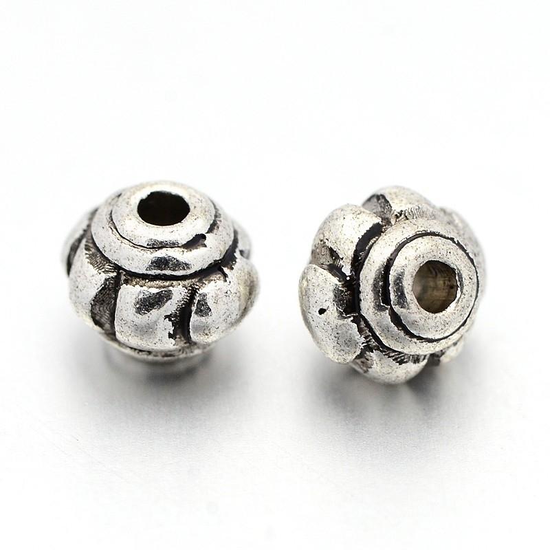 20 stuks tibetaans zilveren kraaltjes rond 5 x 4,3mm gat: 1mm