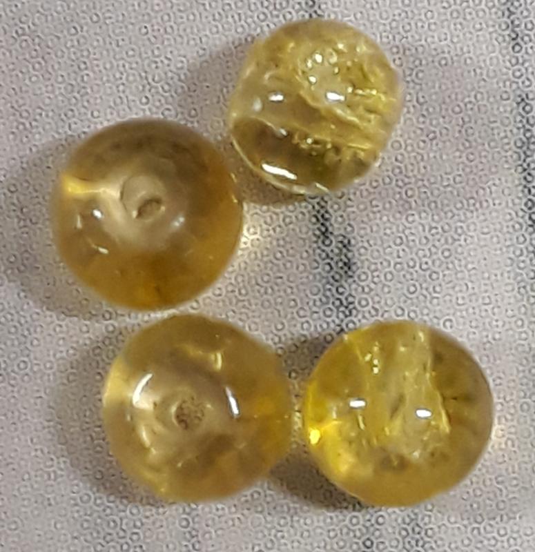 20 stuks Glaskraal crackle rond transparant geel  4 mm gat 1mm