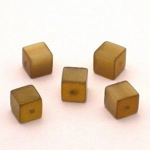10 x Glaskraal kubus cate-eye 8 mm Amber