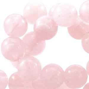 10 x kunststof kraal rond licht roze gemeleerd. 8 mm