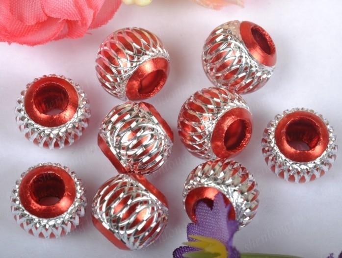 10 x Prachtige rode aluminium kraal 14mm