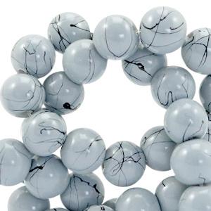 15  stuks  6 mm glaskralen drip-art Licht blauw grijs