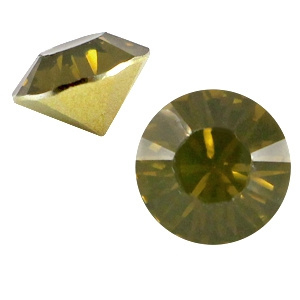 15 x  BQ puntsteen SS39 Khaki green opal c.a. 8mm