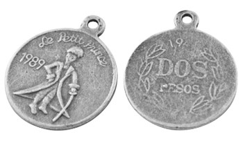 6 x Tibetaans zilveren muntje 17,5 x 1mm gat: 2mm le petit prince