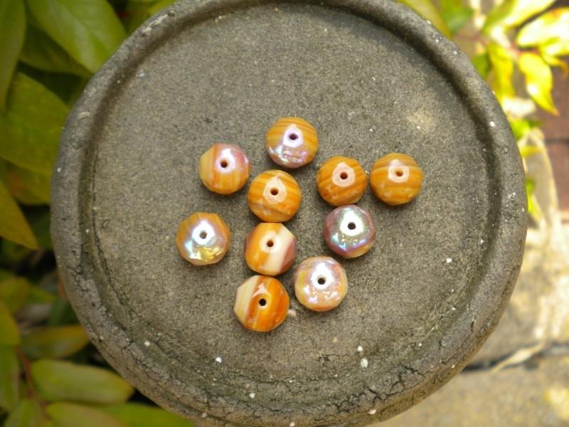 10 stuks prachtige gemstone donuts beige-oranje AB 7x11 mm