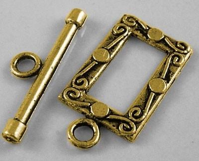 4 x Prachtige Tibetaans zilveren sluiting goudkleur  17,5 x 18mm Tstuk: 5mm x 27mm Gat: 2.5mm