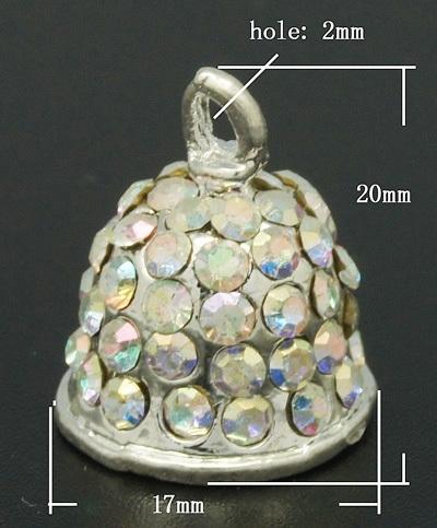Prachtig kerst klokje met strass kristal AB steentjes 17 x 20mm Binnenzijde 12mm OOgje 2mm