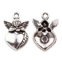 """4 x Prachtige Tibetaans zilveren bedel """"hart"""" met engel 24,5 x 16,5 x 4mm Gat: 2,5mm"""