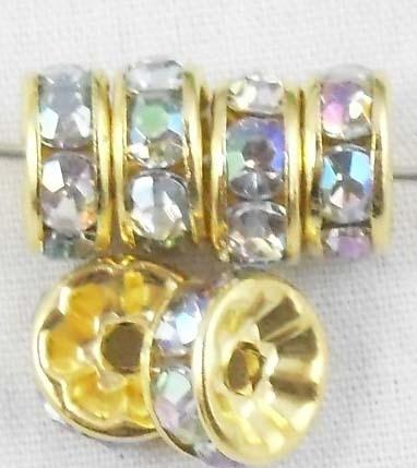 50 stuks vergulde Kristal Rondellen 8 mm AB
