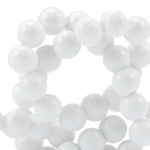 10 x 8 mm glaskraal half mat White