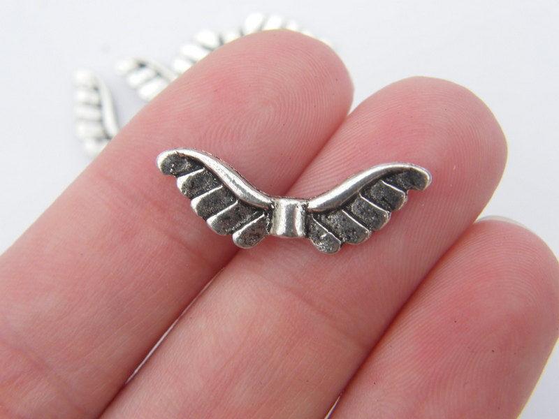 10 stuks tibetaans zilveren engelen vleugel 23 x 8 x 2mm  gat 1mm