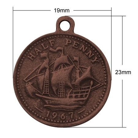 6 x Tibetaans zilveren munt 23 x 19 x 1mm Oogje 1,5 mm rood koper