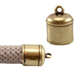 1 x  DQ metaal eindkap met oog (dreamz koord) Antiek brons (nikkelvrij) ca. 12 x 17 mm (Ø 10.3mm)