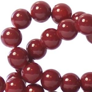 30 stuks keramische glaskralen 4mm Deep garnet red