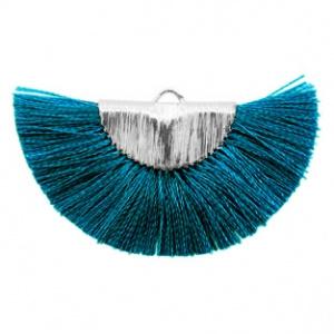 Kwastjes hanger Silver-petrol blue