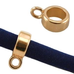 10 x Tibetaans zilveren bails hanger 6,5 x 10mm, Ø2,6mm, het oogje is: 1mm  Goudkleur