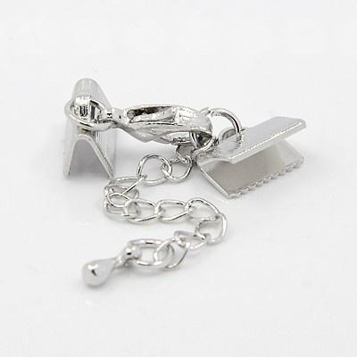 Platinum veterklem met sluiting incl. verlengketting klem: 10mm