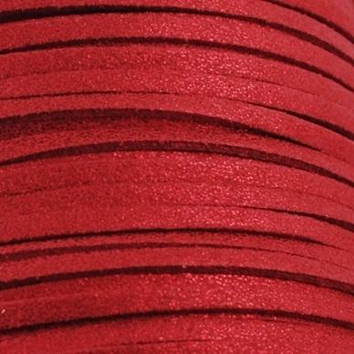 Faux suède veter, rood met lichte glans 1 meter x 3mm.