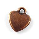 Tibetaans zilveren bedel hartje 12x11mm rood koper kleur