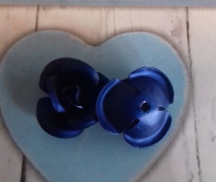 1x Aluminium roosje 12 mm Mat donker blauw