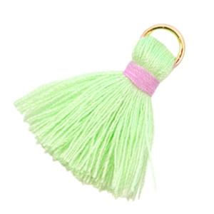 Nieuw! Kwastjes Ibiza style 2cm Light flash green-pink