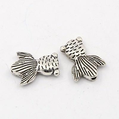 10 x Tibetaans zilveren kraal van een vis 11 x 15 x 3mm gat: 1mm
