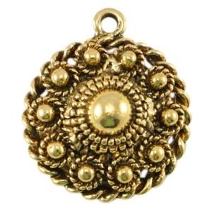 Metalen Zeeuwse knop 1 oog Antiek goud 27 x  23mm