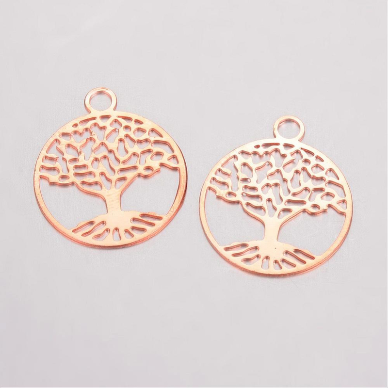 2 x Tibetaans zilveren tree of life bedeltje van een boom 24 x 20mm oogje: 3mm rose gold