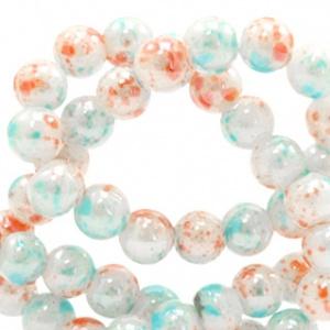 20 stuks 6 mm glaskralen gemêleerd Coral-white blue