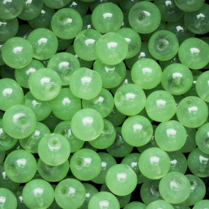 15 stuks  glaskralen opaal jade green 8mm