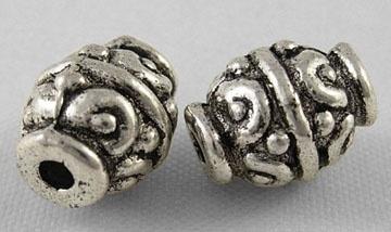 10 stuks Tibetaans zilveren kralen 7 x 9mm gat: 1,5mm