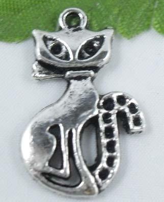 4 x Tibetaans zilveren poes 26x17mm