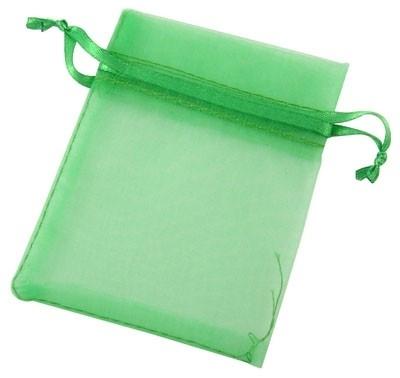 c.a. 100 stuks groene organza zakjes 7x9 cm