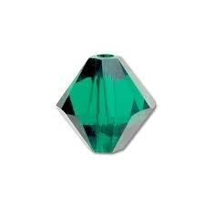 10 x Preciosa Kristal Bicone 6mm Emerald