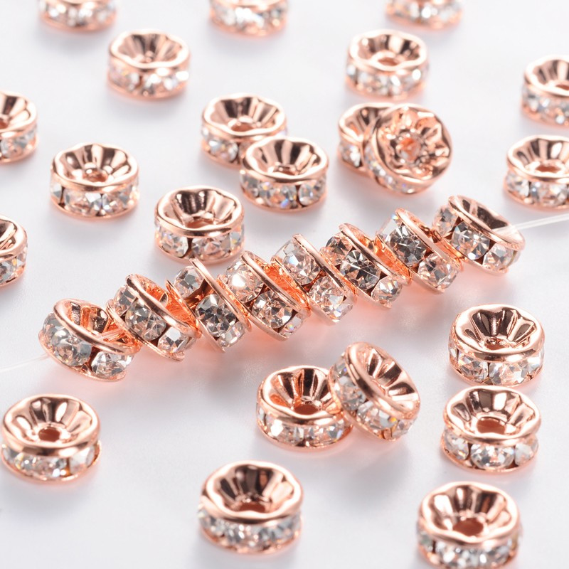 50 stuks rose gold vergulde Kristal Rondellen 8mm