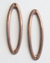 Per stuk Luxe antiek koperen metalen tusselzetsel/schakel ovaal 48 mm