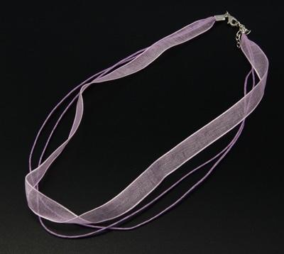 Koord ketting van organza lint en waxkoord c.a. 50cm  lavendel