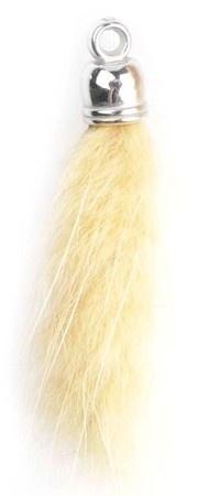 Super zachte Pluizenhanger - Fluffy 40 x 15mm oogje 2mm Mosterd geel
