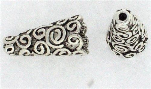 10 x  buggle kralenkap Tibetaans zilver 18 x 9 x 9mm Gat 2mm